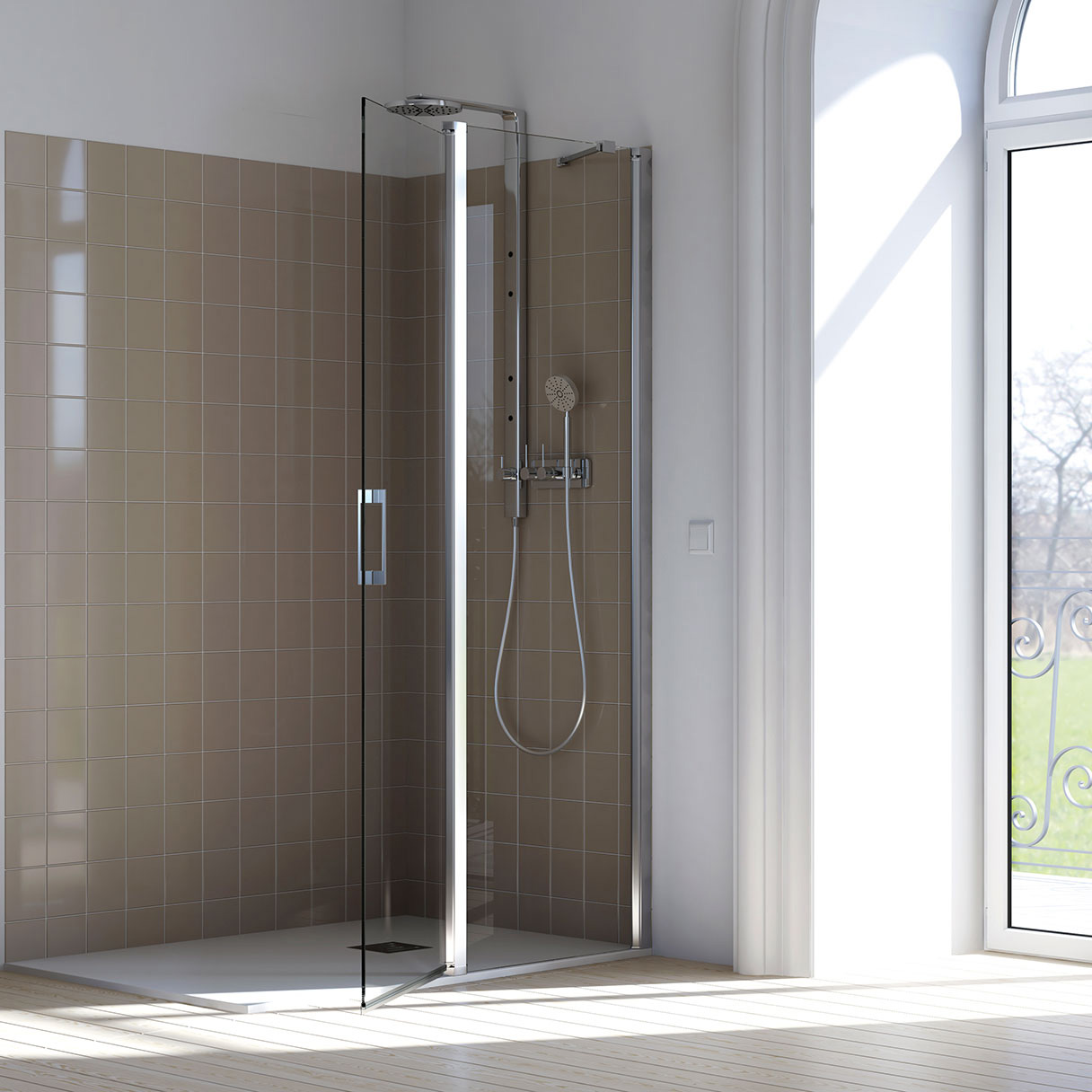 Walk-in P05 Parete fissa su misura per doccia